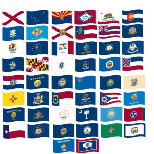 """12"""" X 18"""" Nylon Set of all 50 State Flags"""