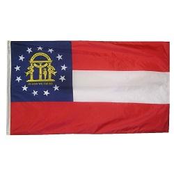 """12"""" X 18"""" Nylon Georgia State Flag"""