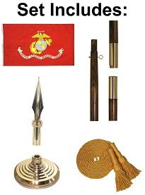 3' X 5' Marine Corps Indoor Flag Set