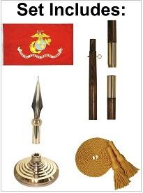Indoor Nylon Marine Corps Flag Set