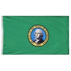 """12"""" X 18"""" Nylon Washington State Flag"""