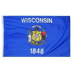 "12"" X 18"" Nylon Wisconsin State Flag"