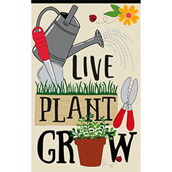 live plant grow garden flag