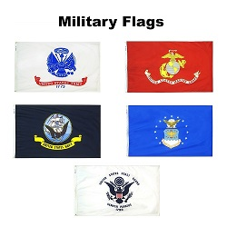 Nylon Set of 5 Armed Forces Flags- 3'x5'